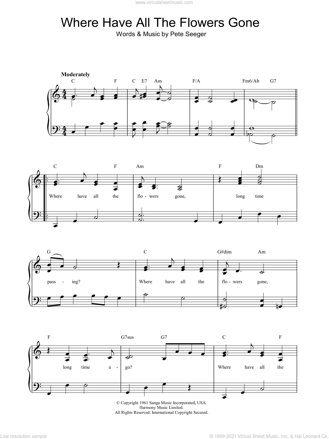 Where Have All The Flowers Gone sheet music for piano solo by Marlene Dietrich and Pete Seeger, easy skill level