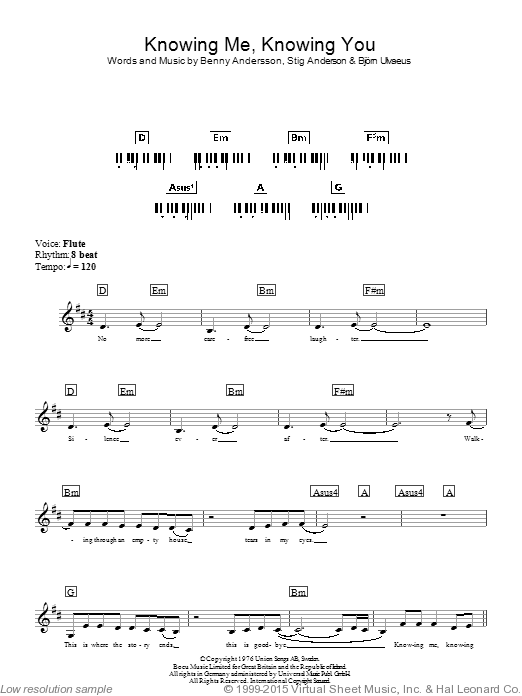 Knowing Me, Knowing You sheet music for piano solo (chords, lyrics, melody) by Stig Anderson