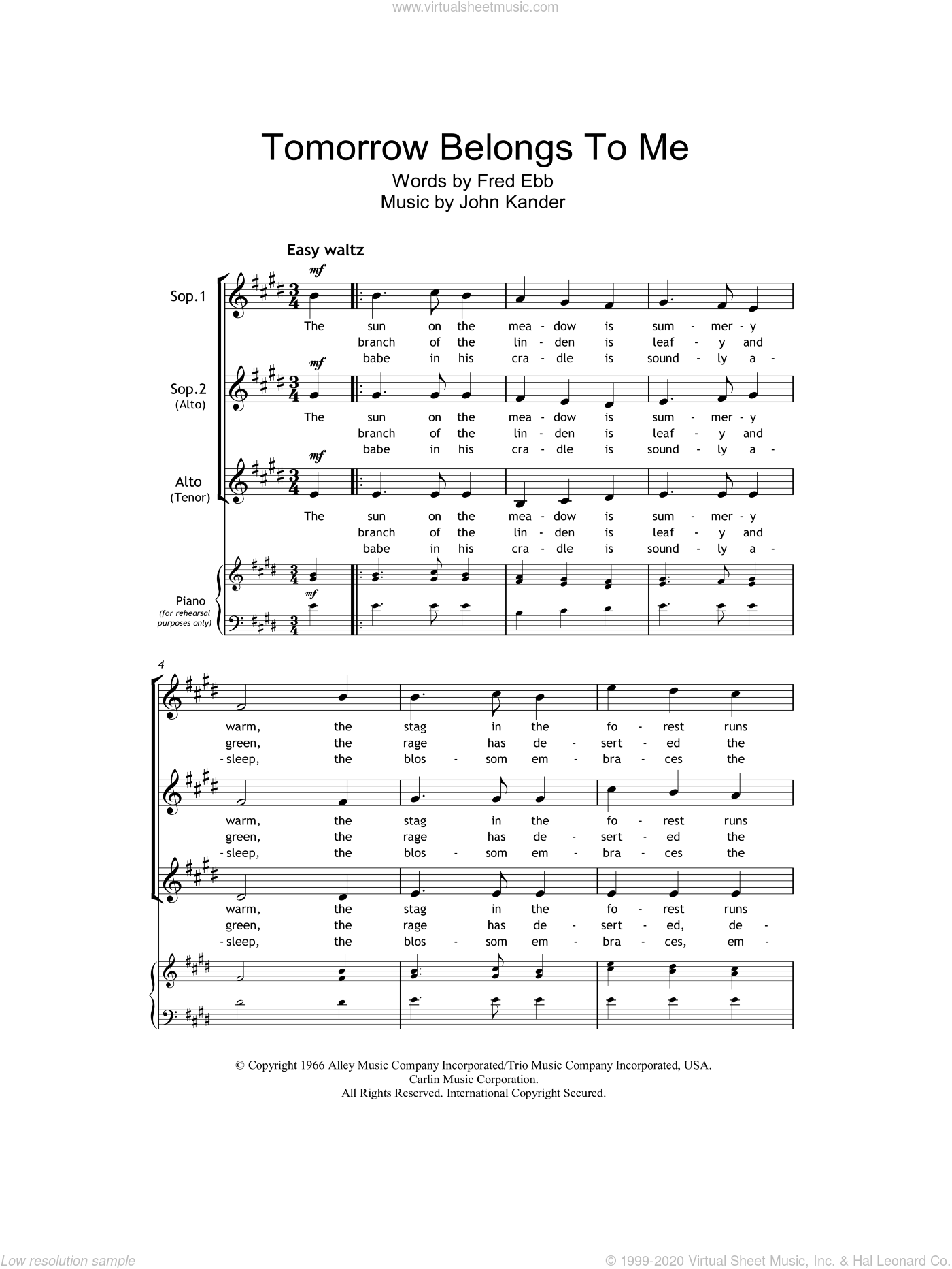 Tomorrow Belongs To Me (from Cabaret) sheet music for choir and piano (SSA) by Fred Ebb, Kander & Ebb and John Kander. Score Image Preview.