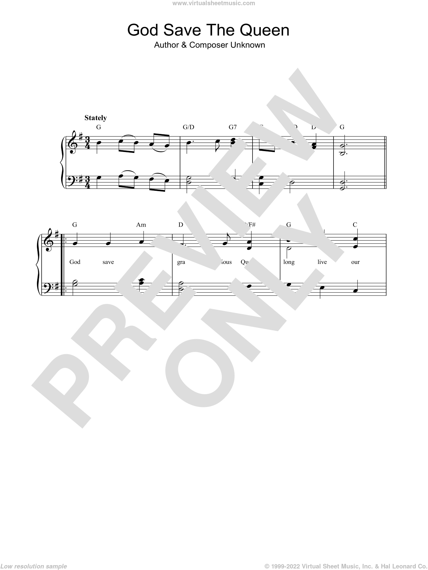 God Save The Queen (UK National Anthem) sheet music for piano solo, easy skill level
