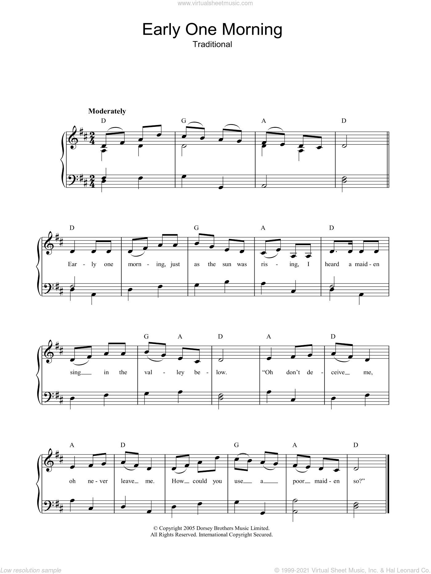 Early One Morning sheet music for piano solo, easy skill level