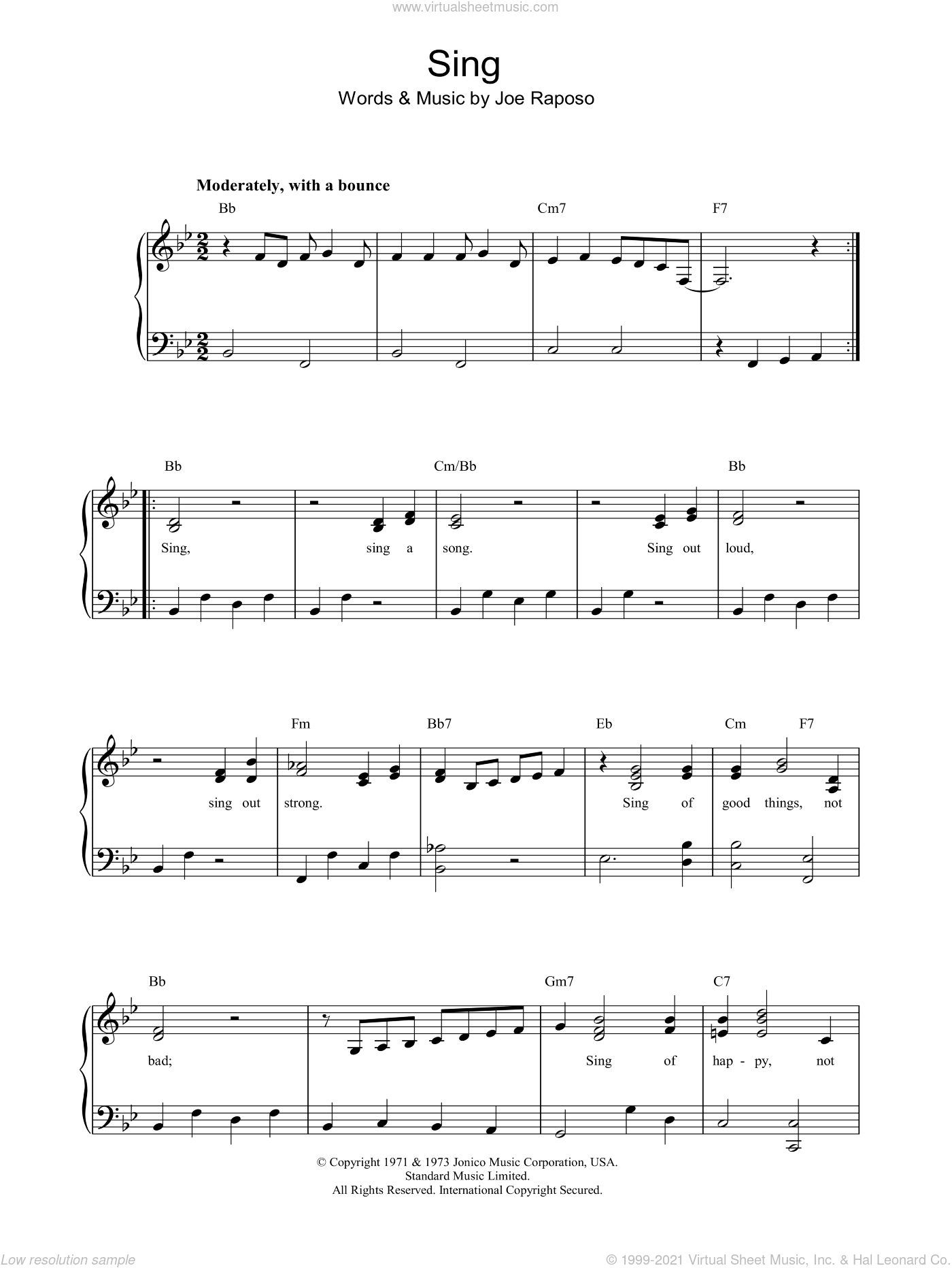 Sing sheet music for piano solo by Joe Raposo and Carpenters. Score Image Preview.