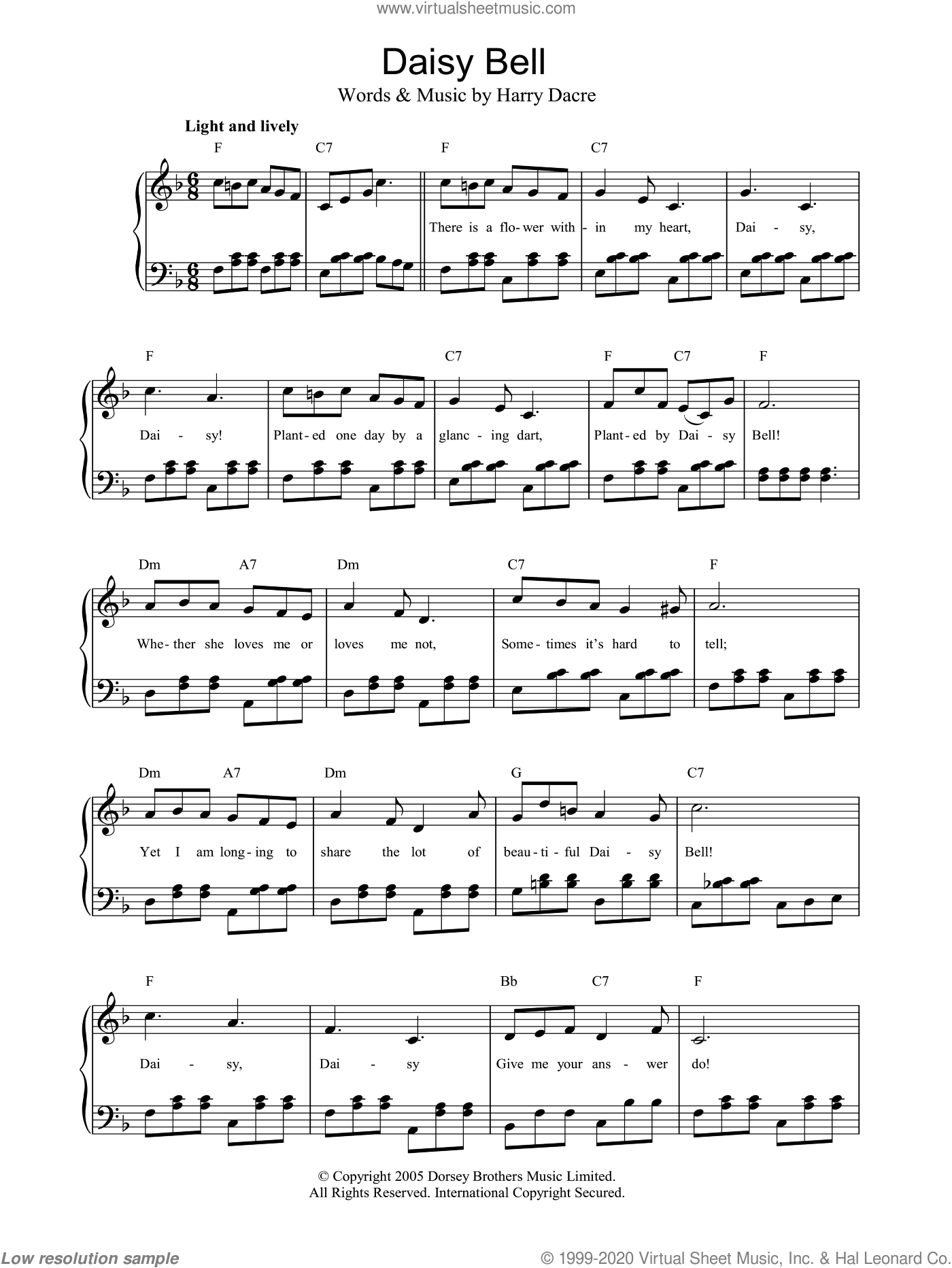 Daisy Bell sheet music for piano solo by Harry Dacre, easy piano. Score Image Preview.