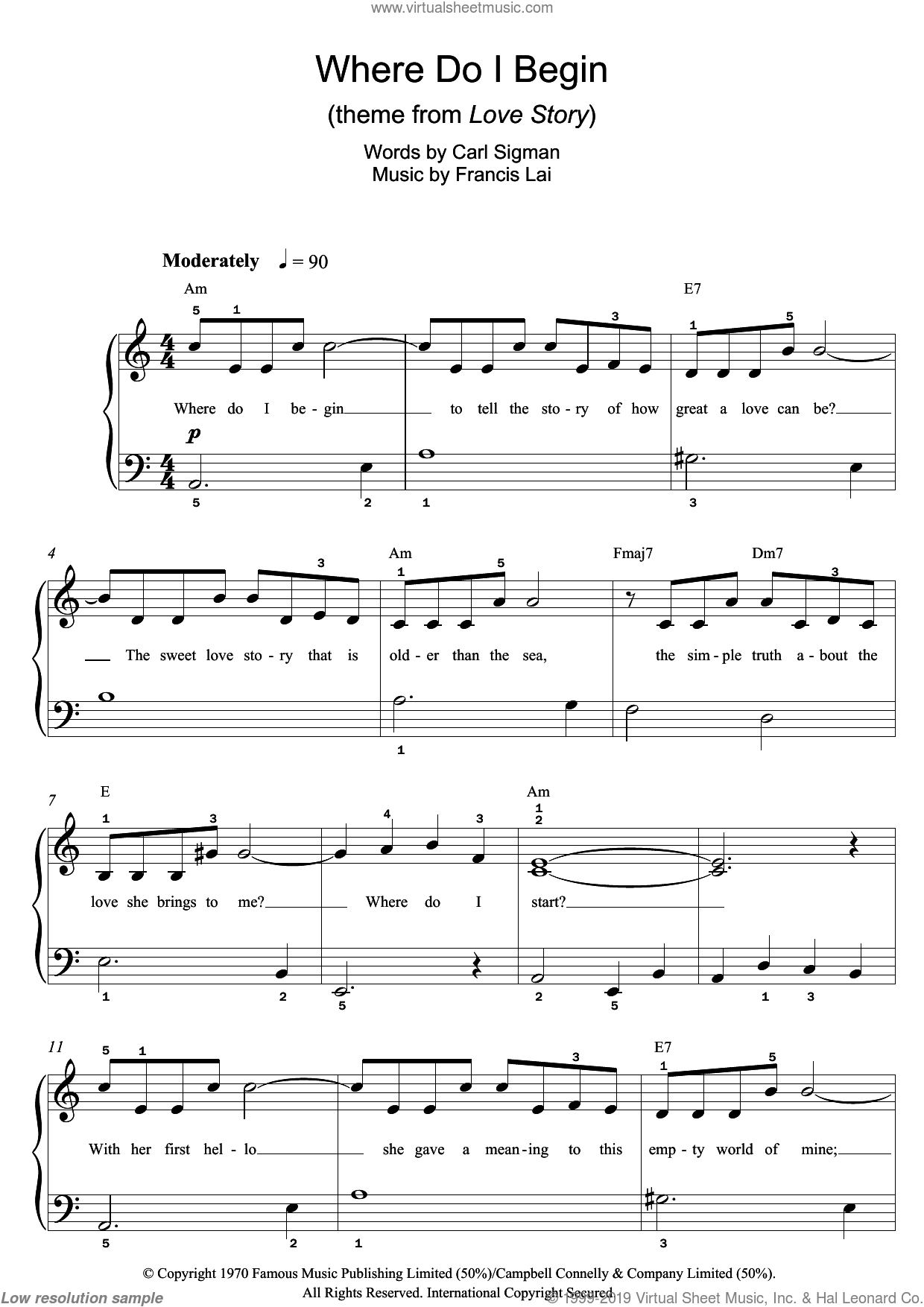Where Do I Begin (theme from Love Story) sheet music for piano solo (beginners) by Andy Williams, Francis Lai and Carl Sigman, beginner piano (beginners)