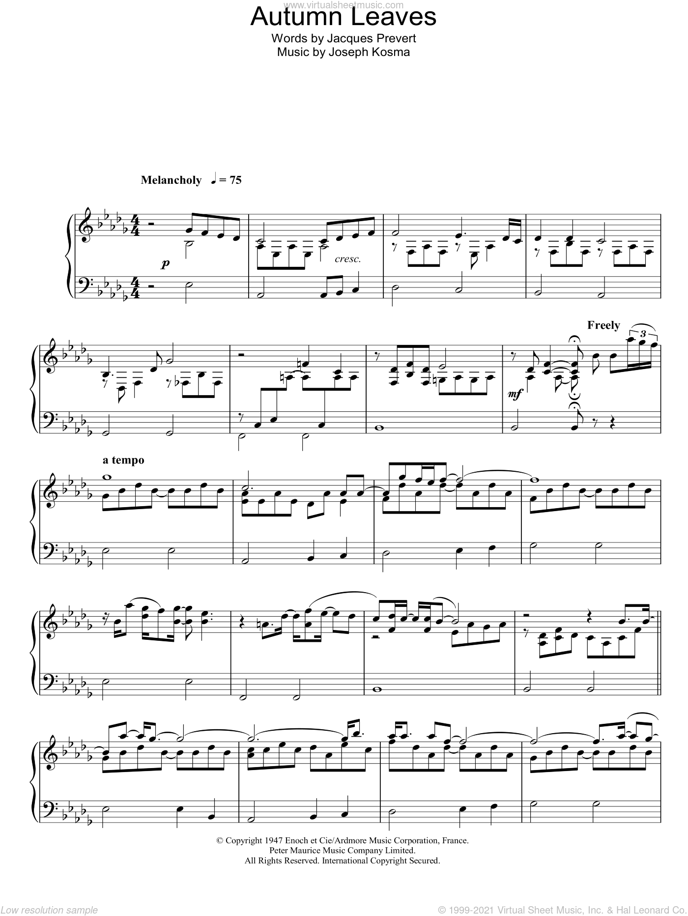 Autumn Leaves (Les Feuilles Mortes) sheet music for piano solo by Joseph Kosma and Eva Cassidy. Score Image Preview.