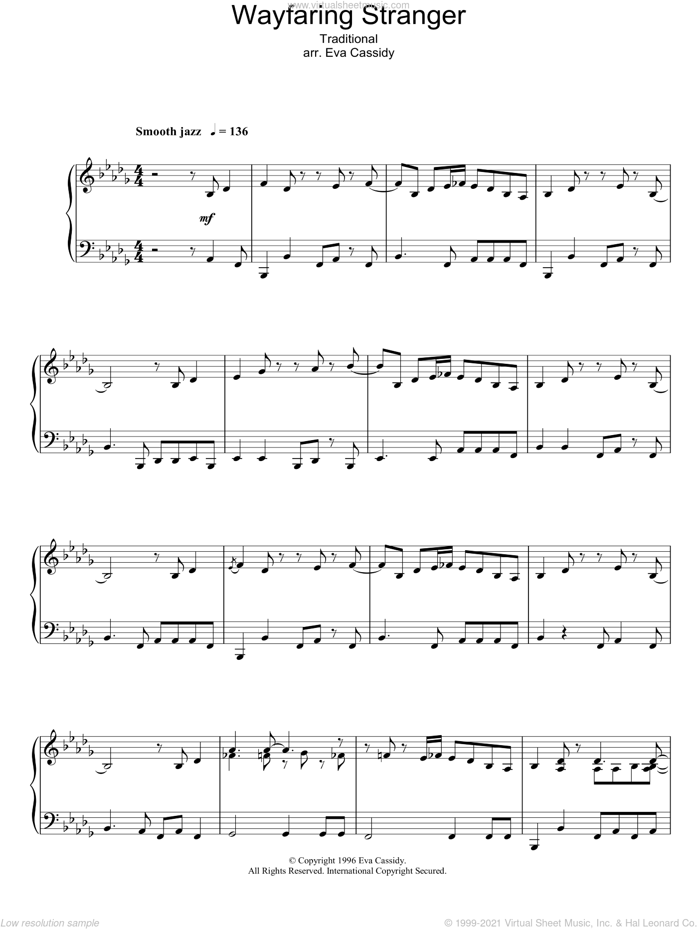 Wayfaring Stranger sheet music for piano solo by Eva Cassidy and Miscellaneous, intermediate skill level