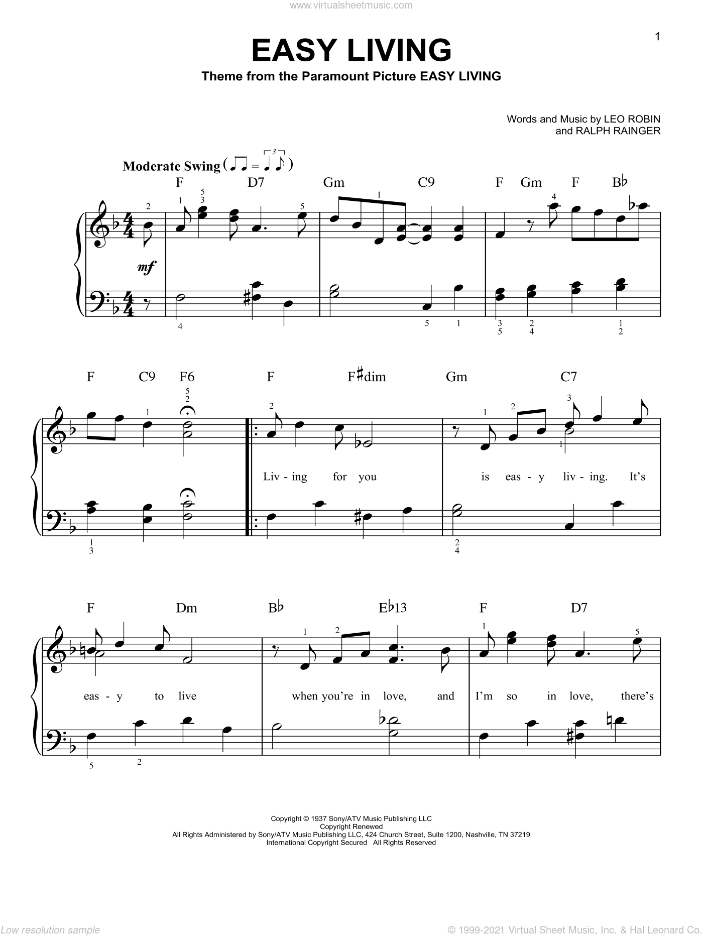 Easy Living, (easy) sheet music for piano solo by Billie Holiday, Leo Robin and Ralph Rainger, easy skill level