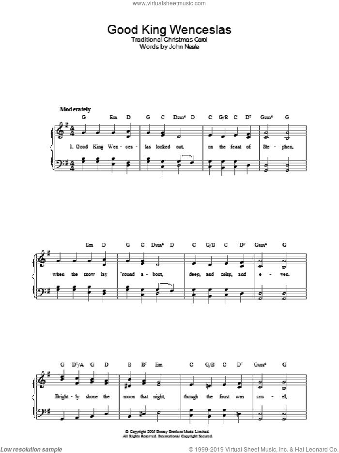 Good King Wenceslas sheet music for piano solo by John Mason Neale, easy skill level