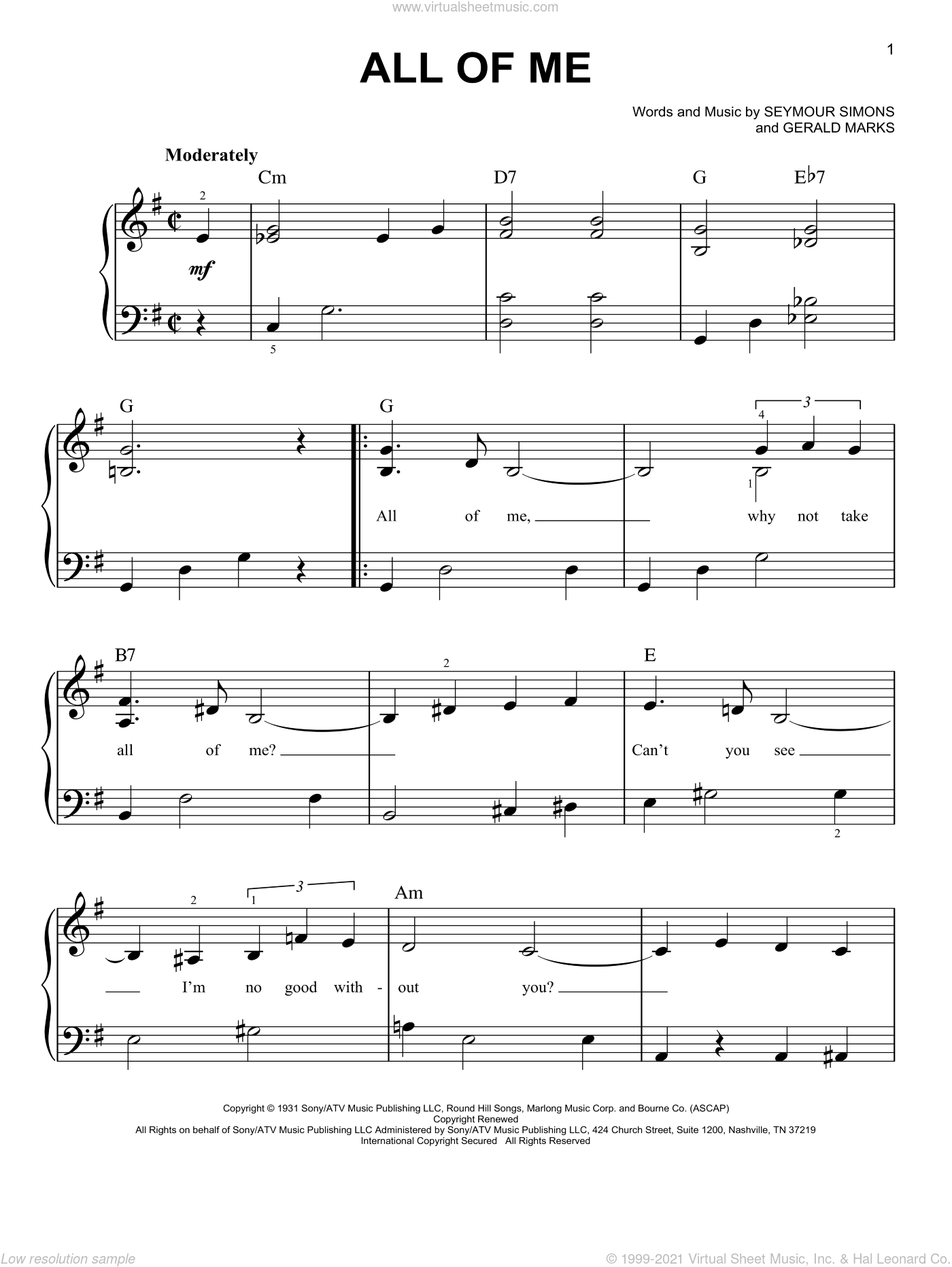 All Of Me sheet music for piano solo by Louis Armstrong, Frank Sinatra, Willie Nelson, Gerald Marks and Seymour Simons, easy skill level