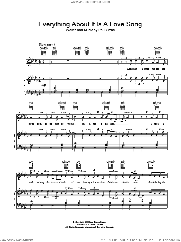 Everything About It Is A Love Song sheet music for voice, piano or guitar by Paul Simon. Score Image Preview.