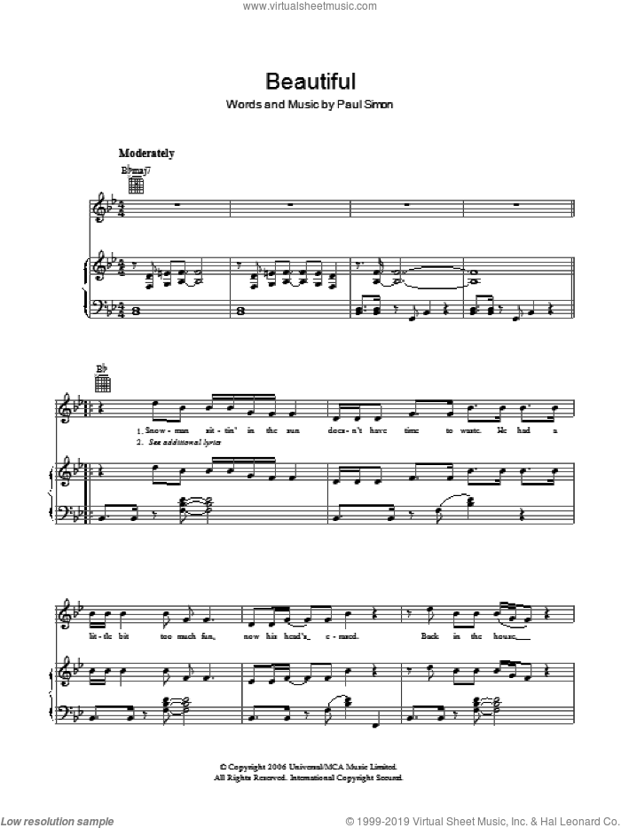 Beautiful sheet music for voice, piano or guitar by Paul Simon, intermediate skill level