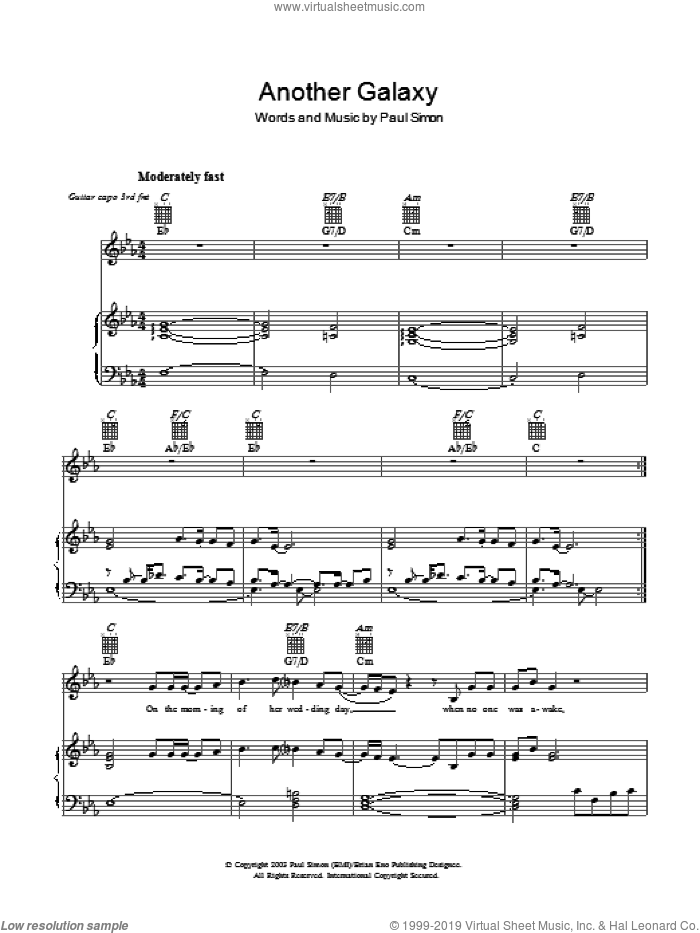 Another Galaxy sheet music for voice, piano or guitar by Paul Simon and Brian Eno, intermediate skill level