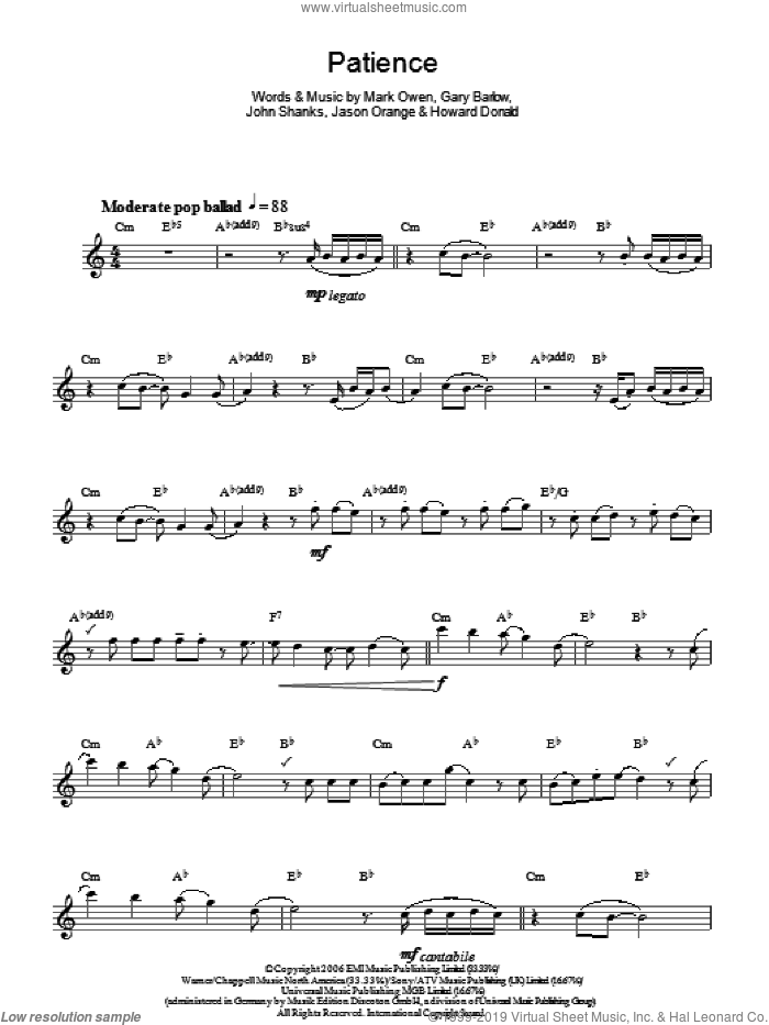 Patience sheet music for voice and other instruments (fake book) by Take That, Gary Barlow, Howard Donald, Jason Orange, John Shanks and Mark Owen, intermediate. Score Image Preview.
