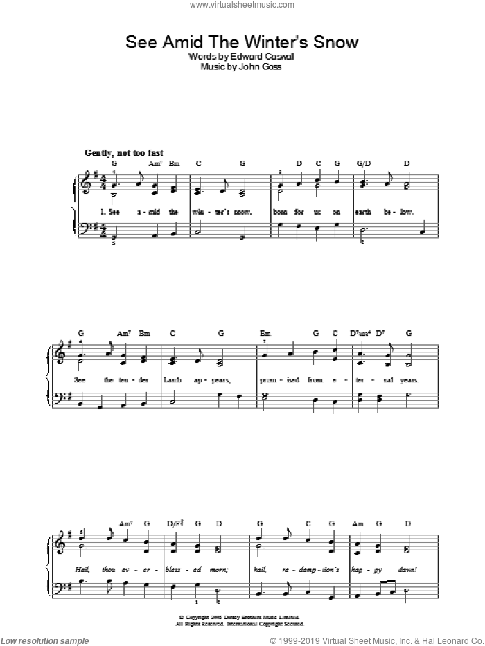 See Amid The Winter's Snow sheet music for piano solo by Edward Caswall and John Goss, easy skill level