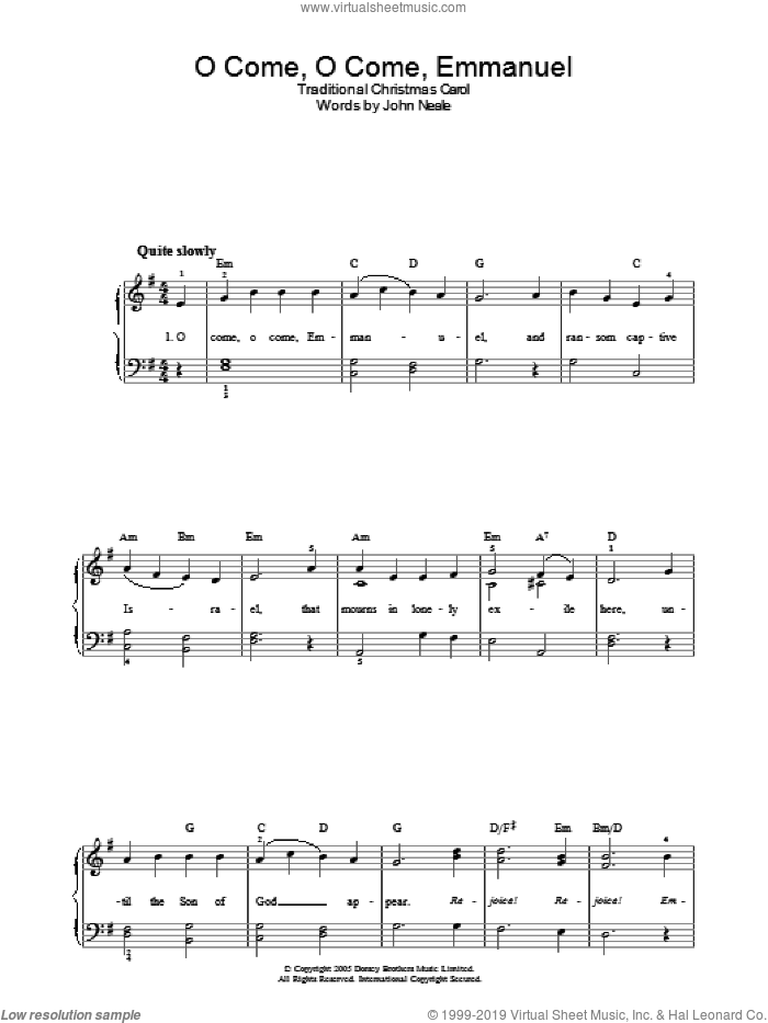 O Come, O Come Emmanuel sheet music for piano solo by John Mason Neale and Miscellaneous, easy skill level