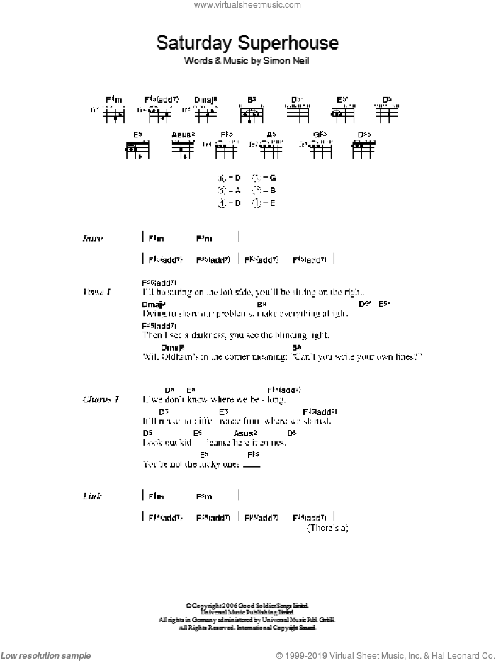 Saturday Superhouse sheet music for guitar (chords) by Simon Neil