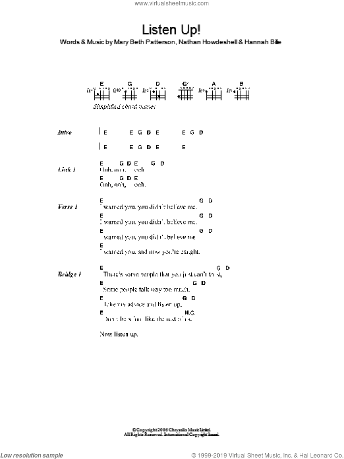 Listen Up! sheet music for guitar (chords) by Gossip, The Gossip, Hannah Billie, Mary Beth Patterson and Nathan Howdeshell, intermediate skill level