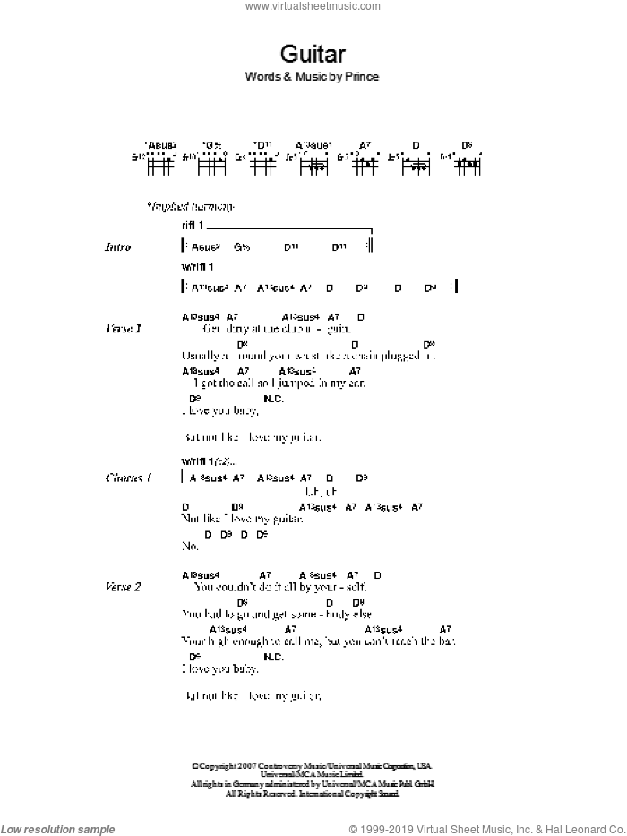 Guitar sheet music for guitar (chords, lyrics, melody) by Prince