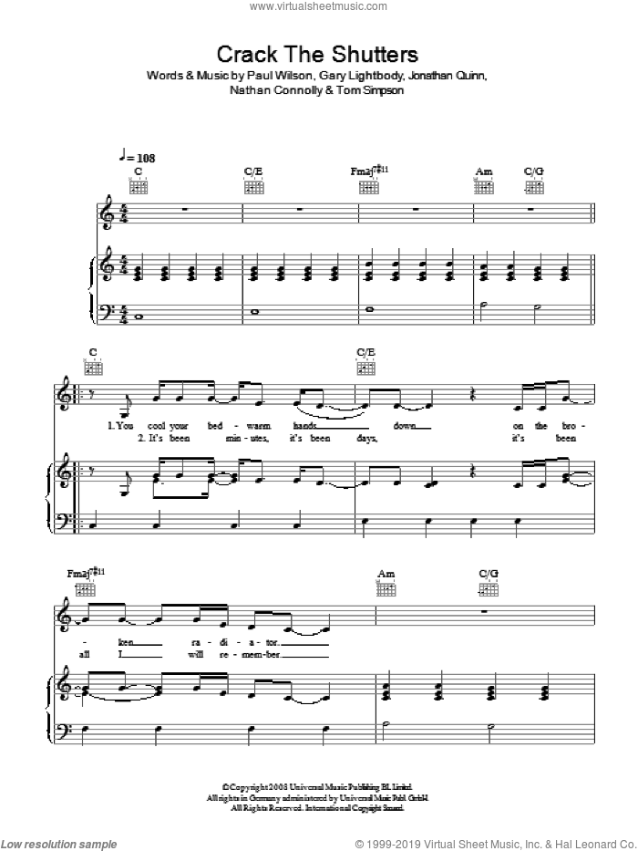 Crack The Shutters sheet music for voice, piano or guitar by Snow Patrol, Gary Lightbody, Jonathan Quinn, Nathan Connolly, Paul Wilson and Tom Simpson, intermediate skill level