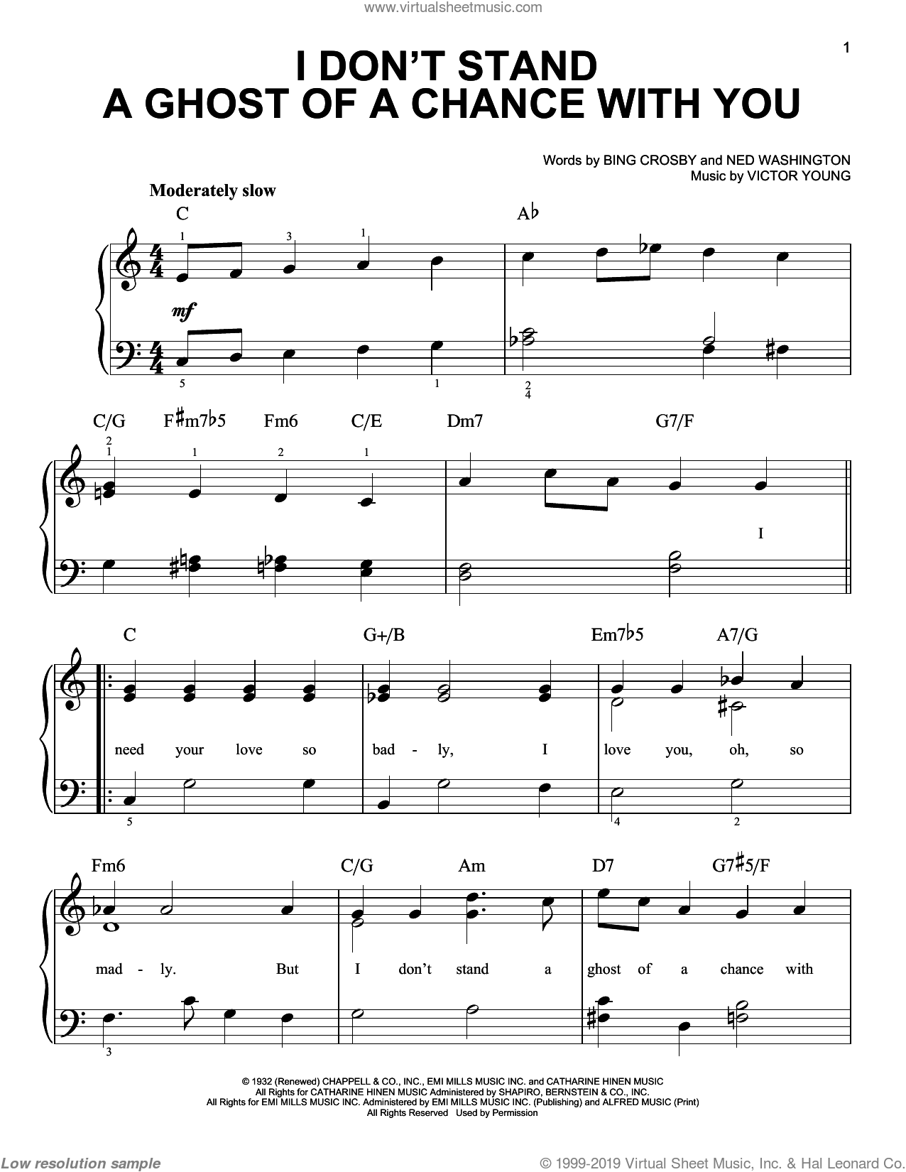 I Don't Stand A Ghost Of A Chance sheet music for piano solo by Victor Young, Billie Holiday, Frank Sinatra, Lester Young, Bing Crosby and Ned Washington