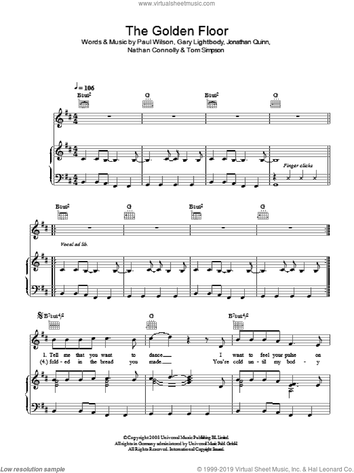 The Golden Floor sheet music for voice, piano or guitar by Snow Patrol, Gary Lightbody, Jonathan Quinn, Nathan Connolly, Paul Wilson and Tom Simpson, intermediate
