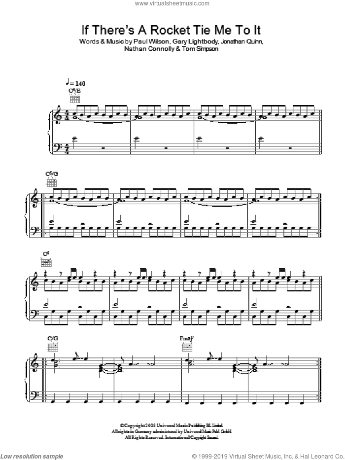 If There's A Rocket Tie Me To It sheet music for voice, piano or guitar by Snow Patrol, Gary Lightbody, Jonathan Quinn, Nathan Connolly, Paul Wilson and Tom Simpson, intermediate skill level