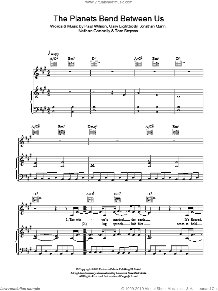 The Planets Bend Between Us sheet music for voice, piano or guitar by Snow Patrol, Gary Lightbody, Jonathan Quinn, Nathan Connolly, Paul Wilson and Tom Simpson, intermediate skill level