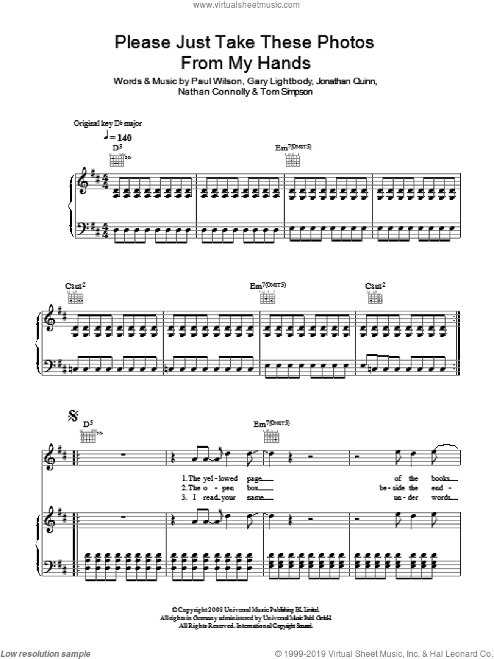 Please Just Take These Photos From My Hands sheet music for voice, piano or guitar by Snow Patrol, Gary Lightbody, Jonathan Quinn, Nathan Connolly, Paul Wilson and Tom Simpson, intermediate skill level