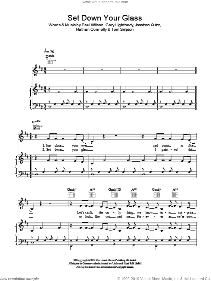 Set Down Your Glass sheet music for voice, piano or guitar by Gary Lightbody, Snow Patrol, Nathan Connolly, Paul Wilson and Tom Simpson. Score Image Preview.