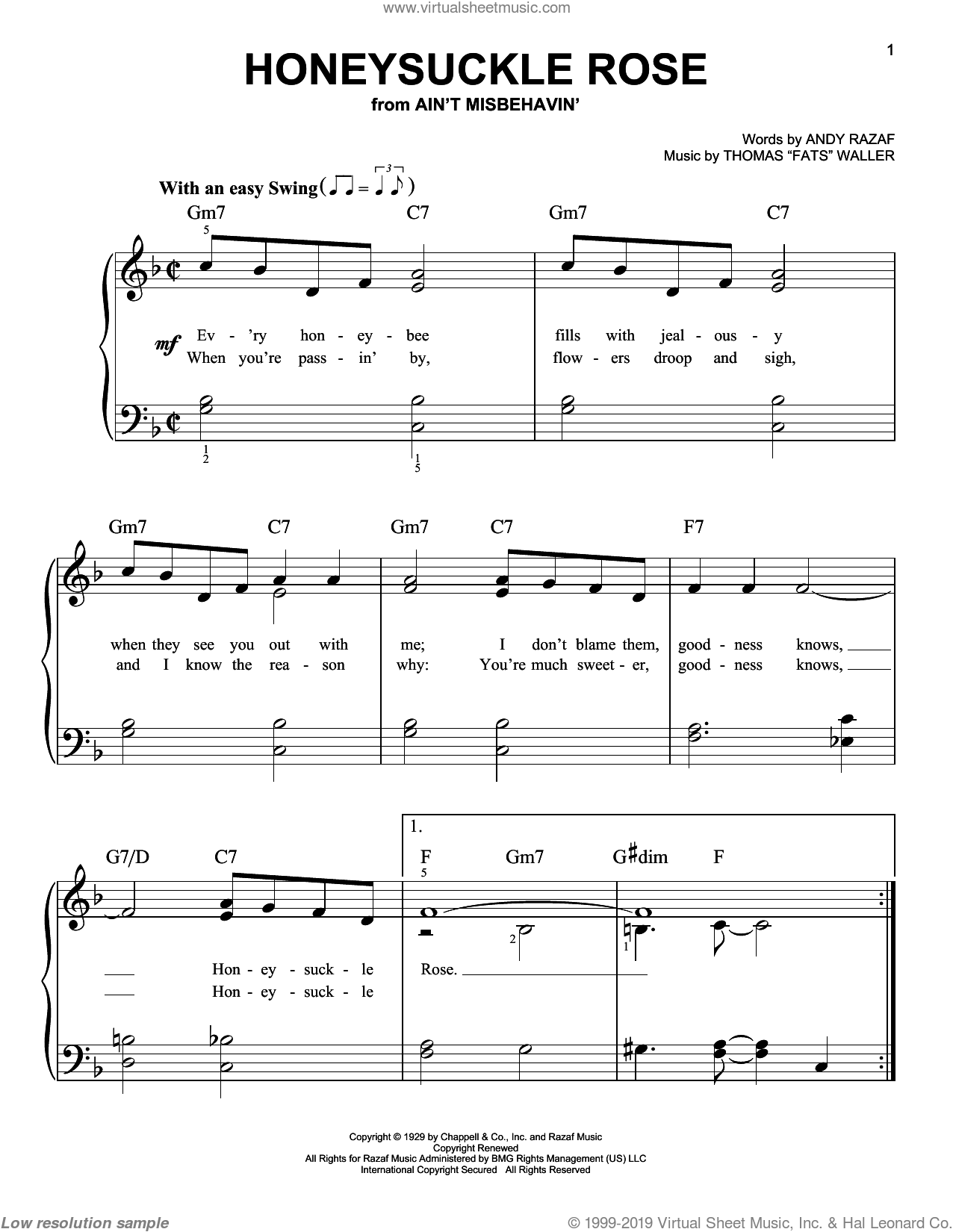 Honeysuckle Rose sheet music for piano solo by Louis Armstrong, Benny Goodman, Django Reinhardt, Duke Ellington, Nat King Cole, Sarah Vaughan, Teddy Wilson, Willie Nelson, Andy Razaf and Thomas Waller, easy skill level