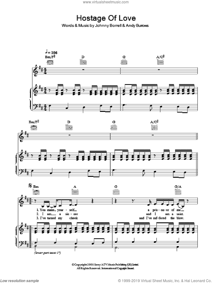 Hostage Of Love sheet music for voice, piano or guitar by Andy Burrows and Johnny Borrell. Score Image Preview.