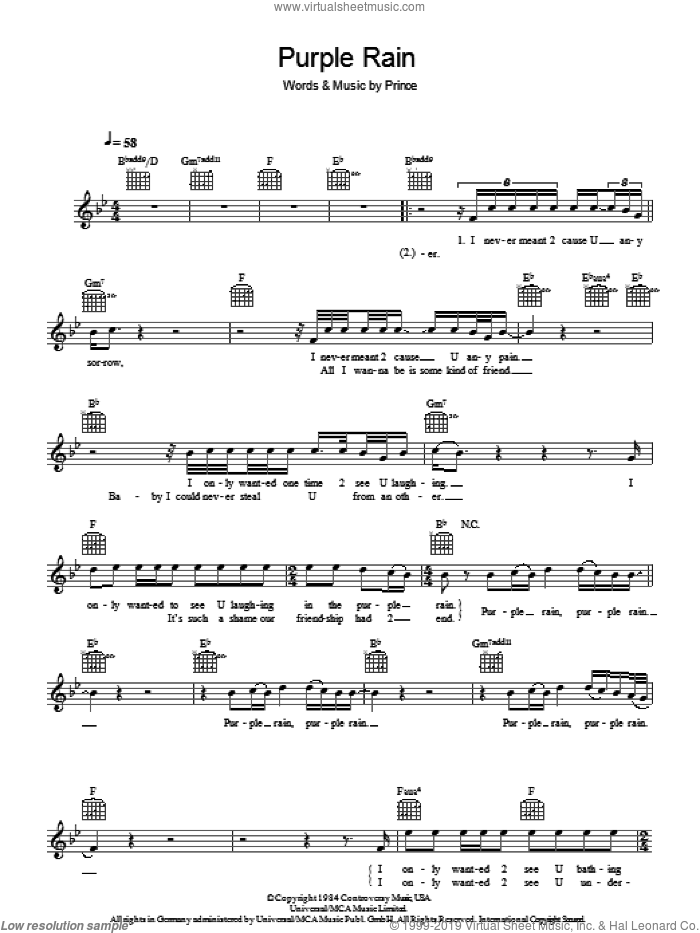 Purple Rain sheet music for voice and other instruments (fake book) by Prince and Prince & The Revolution, intermediate skill level