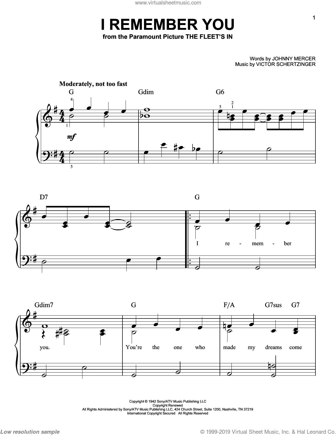 I Remember You sheet music for piano solo (chords) by Victor Schertzinger