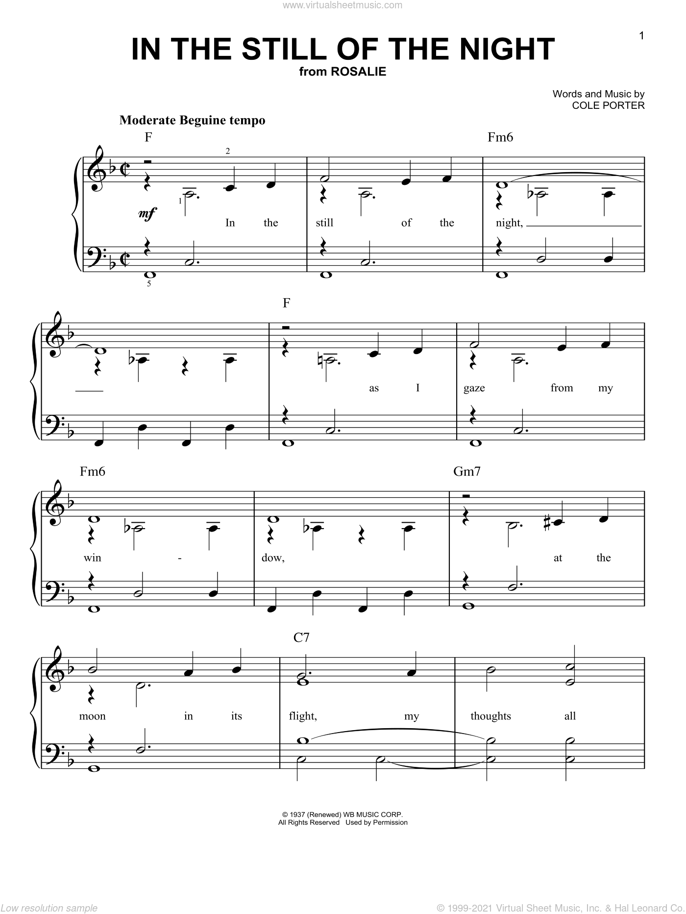 In The Still Of The Night sheet music for piano solo by Cole Porter, easy skill level
