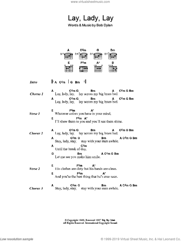 Lay Lady Lay sheet music for guitar (chords) by Bob Dylan, intermediate skill level