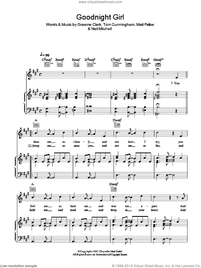 Goodnight Girl sheet music for voice, piano or guitar by Graeme Clark, Wet Wet Wet, Neil Mitchell and Tom Cunningham. Score Image Preview.
