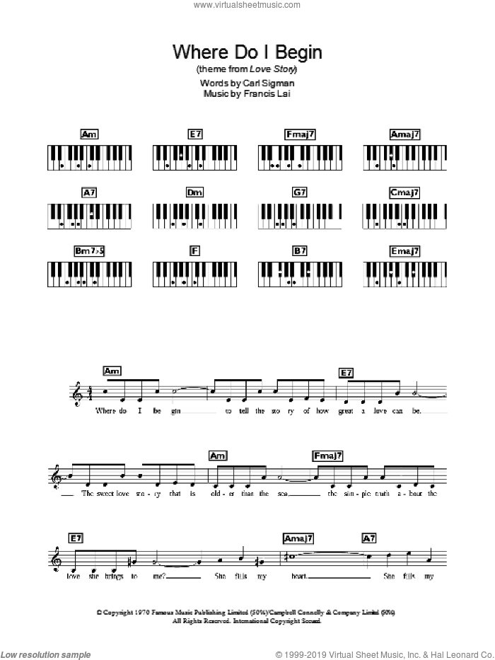 Where Do I Begin sheet music for piano solo (chords, lyrics, melody) by Francis Lai