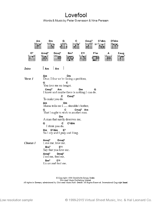 Lovefool sheet music for guitar (chords, lyrics, melody) by NINA PERSSON