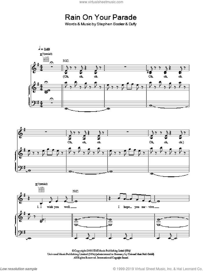 Rain On Your Parade sheet music for voice, piano or guitar by Duffy and Steve Booker, intermediate voice, piano or guitar. Score Image Preview.