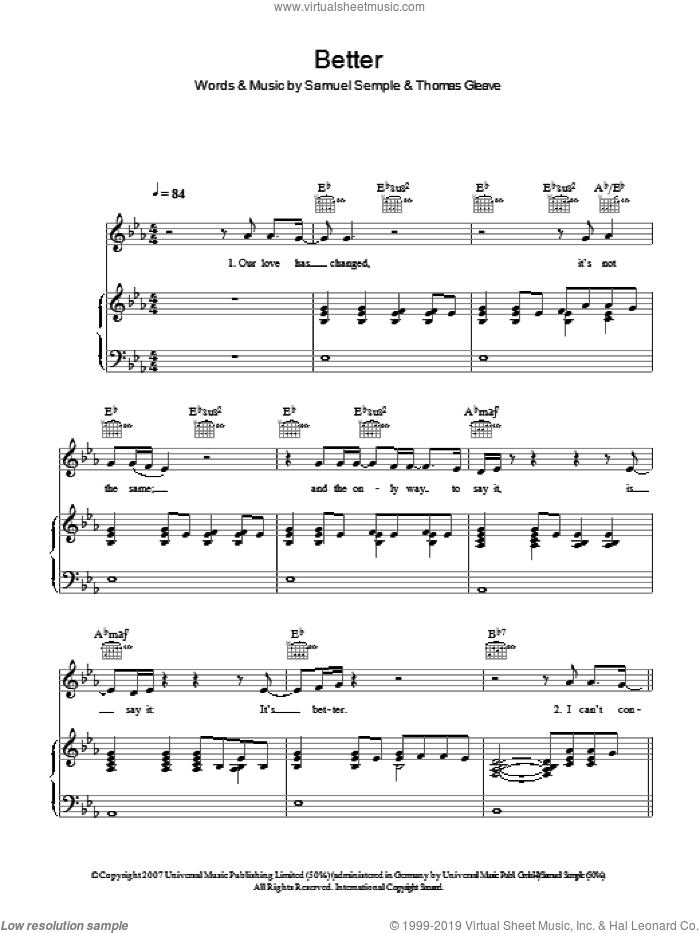 Better sheet music for voice, piano or guitar by Samuel Semple