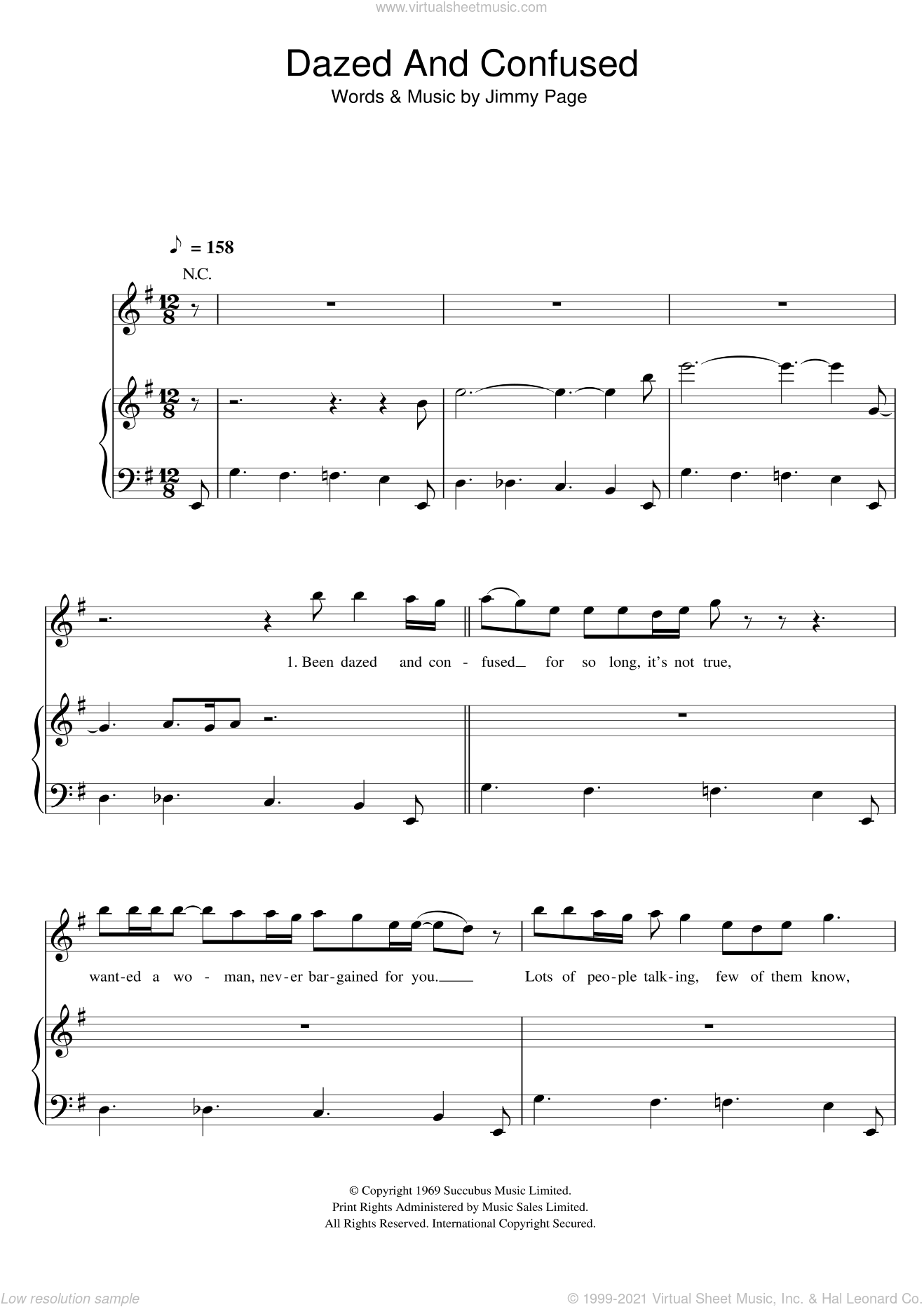 Dazed And Confused sheet music for voice, piano or guitar by Led Zeppelin and Jimmy Page, intermediate skill level
