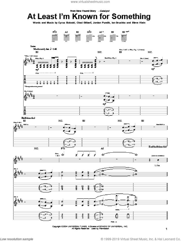 At Least I'm Known For Something sheet music for guitar (tablature) by New Found Glory, Chad Gilbert, Cyrus Bolooki, Ian Grushka, Jordan Pundik and Steve Klein, intermediate skill level
