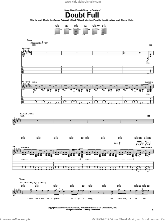 Doubt Full sheet music for guitar (tablature) by New Found Glory, Chad Gilbert, Cyrus Bolooki, Ian Grushka, Jordan Pundik and Steve Klein, intermediate skill level