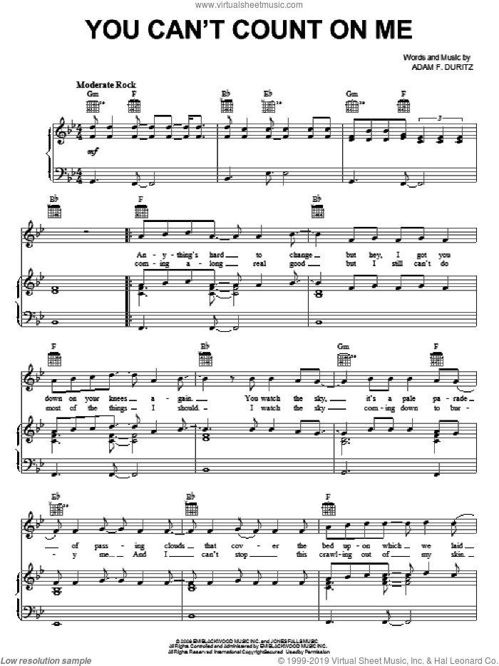 You Can't Count On Me sheet music for voice, piano or guitar by Adam Duritz and Counting Crows. Score Image Preview.