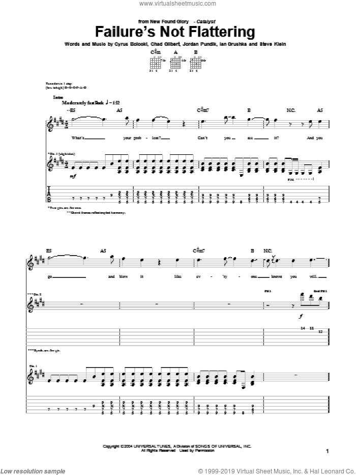 Failure's Not Flattering sheet music for guitar (tablature) by New Found Glory, Chad Gilbert, Cyrus Bolooki, Ian Grushka, Jordan Pundik and Steve Klein, intermediate skill level