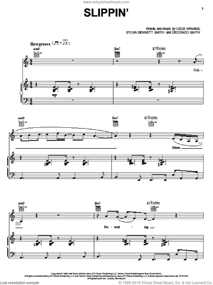 Slippin' sheet music for voice, piano or guitar by CeCe Winans, Deconzo Smith and Sylvia Bennett Smith, intermediate skill level