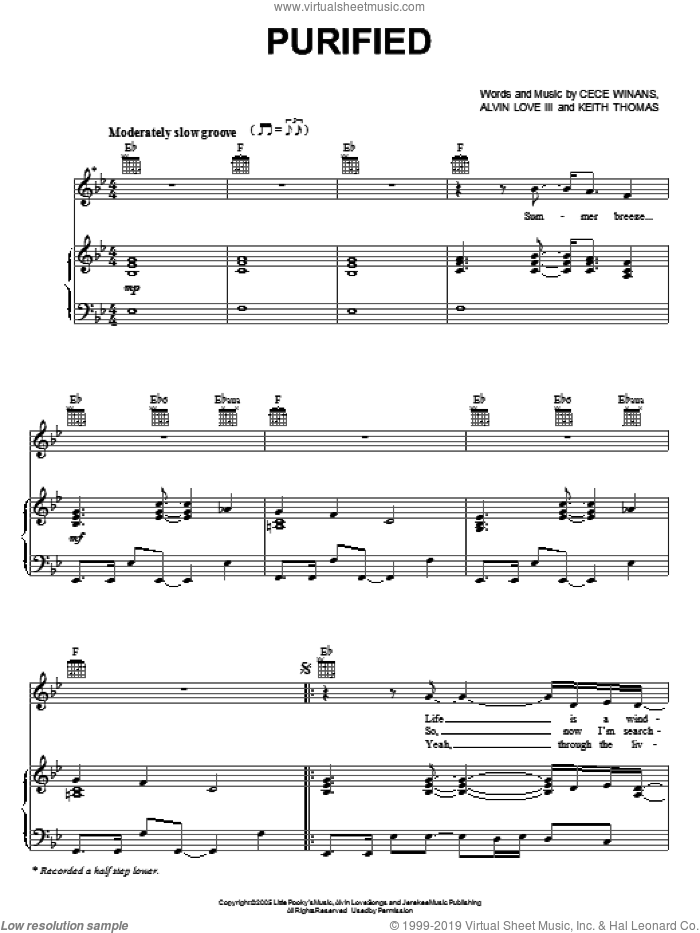 Purified sheet music for voice, piano or guitar by CeCe Winans. Score Image Preview.