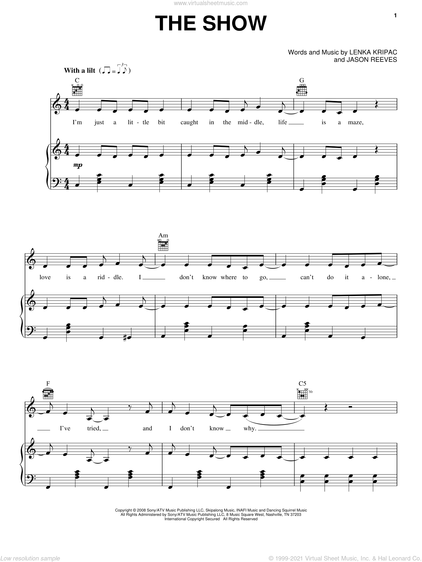 The Show sheet music for voice, piano or guitar by Lenka, Jason Reeves and Lenka Kripac, intermediate skill level