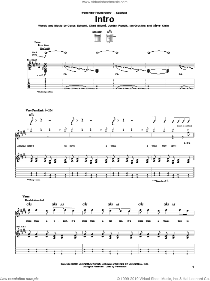 Intro sheet music for guitar (tablature) by New Found Glory, Chad Gilbert, Cyrus Bolooki, Ian Grushka, Jordan Pundik and Steve Klein, intermediate. Score Image Preview.