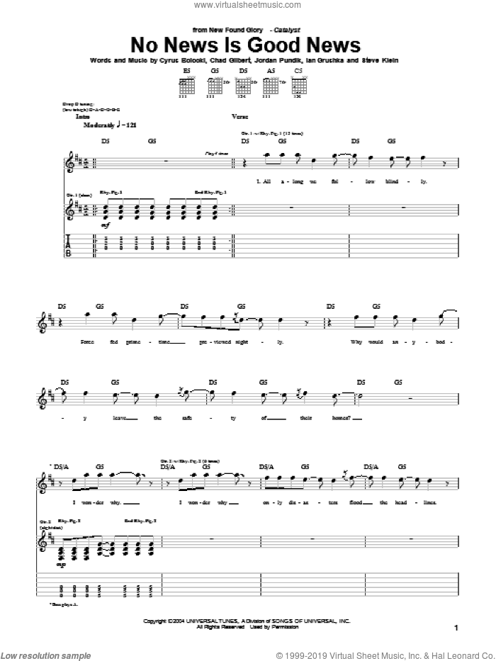 No News Is Good News sheet music for guitar (tablature) by New Found Glory, Chad Gilbert, Cyrus Bolooki, Ian Grushka, Jordan Pundik and Steve Klein, intermediate skill level